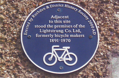 Plaque commemorating the Lightstrung cycle factory