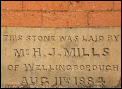 The foundation stone laid in August 1884