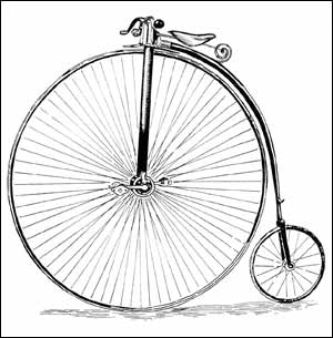 A penny farthing cycle
