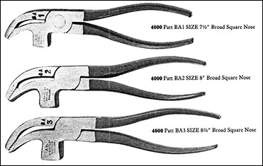 Selection of pincers used for hand lasting