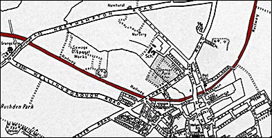 1901 map showing the line of the railway through Rushden