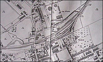 1900 map showing the railway line in Rushden