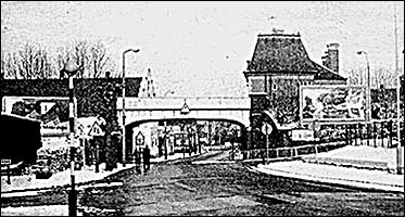 Photograph showing the railway bridge over the High Street in Rushden
